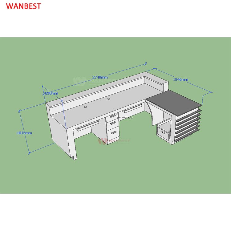The 3D drawing of L shape front counter