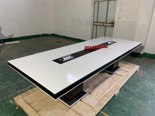 Hot Selling White & Black Acrylic Solid Surface Meeting Room Table Furniture