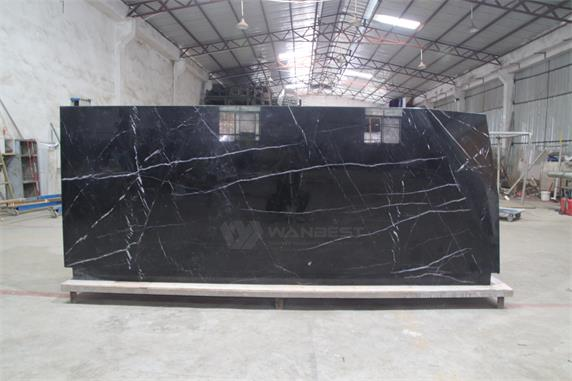 Marble stone High quality black stripe elegant reception desk