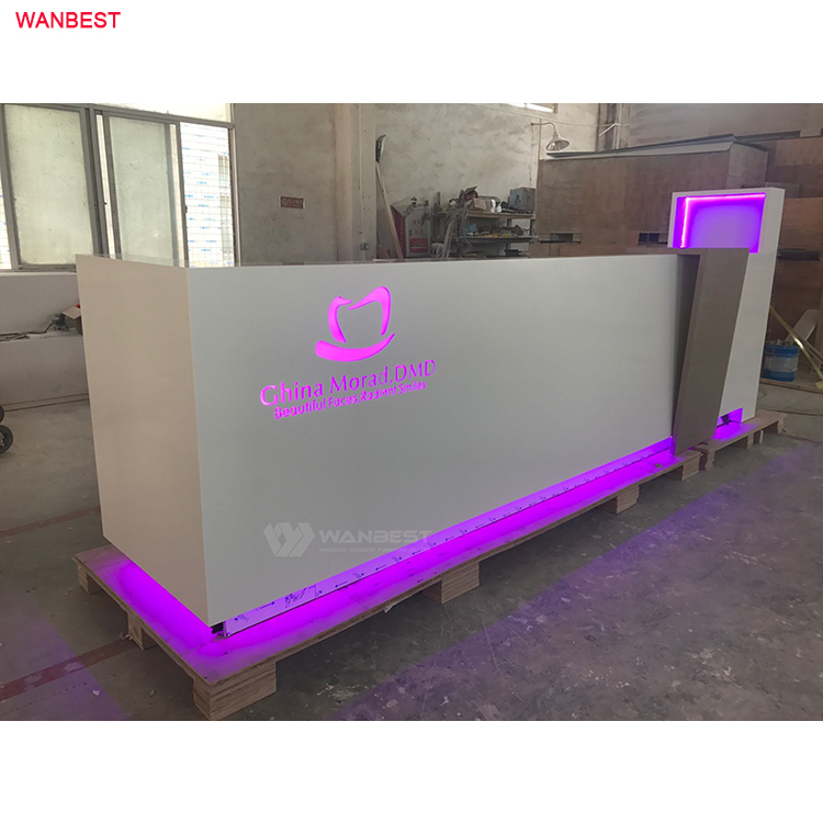 Beauty salon spa special design acrylic solid surface good fame reception desk furniture