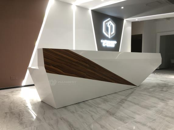 Reception desk wood body lacquered artificial stone counter tops