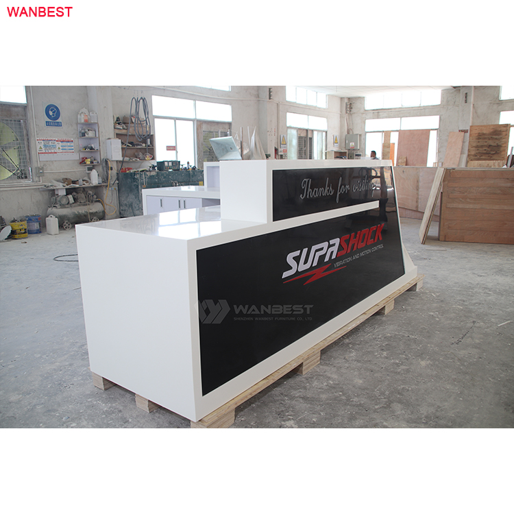 White black elegant design front table office furniture reception desk artificial stone material