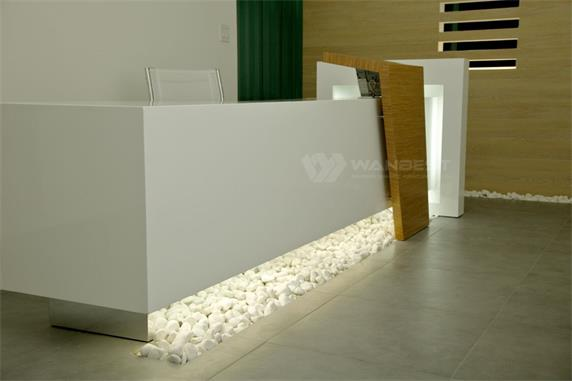Customized client LOGO RGB light high glossy reception desk