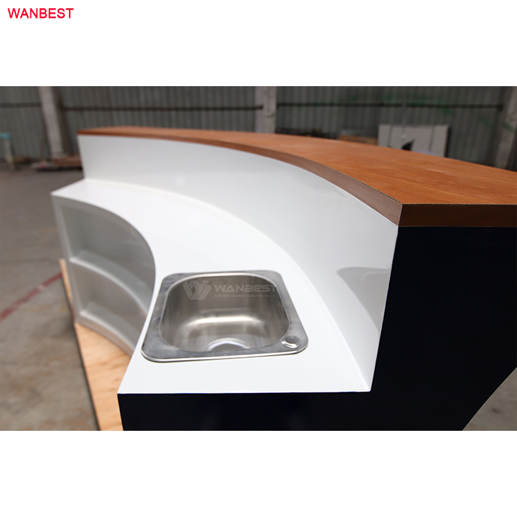 The sink of bar counter is stainless steel