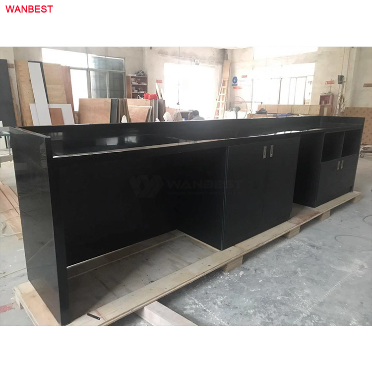 back reception desk with cabinets