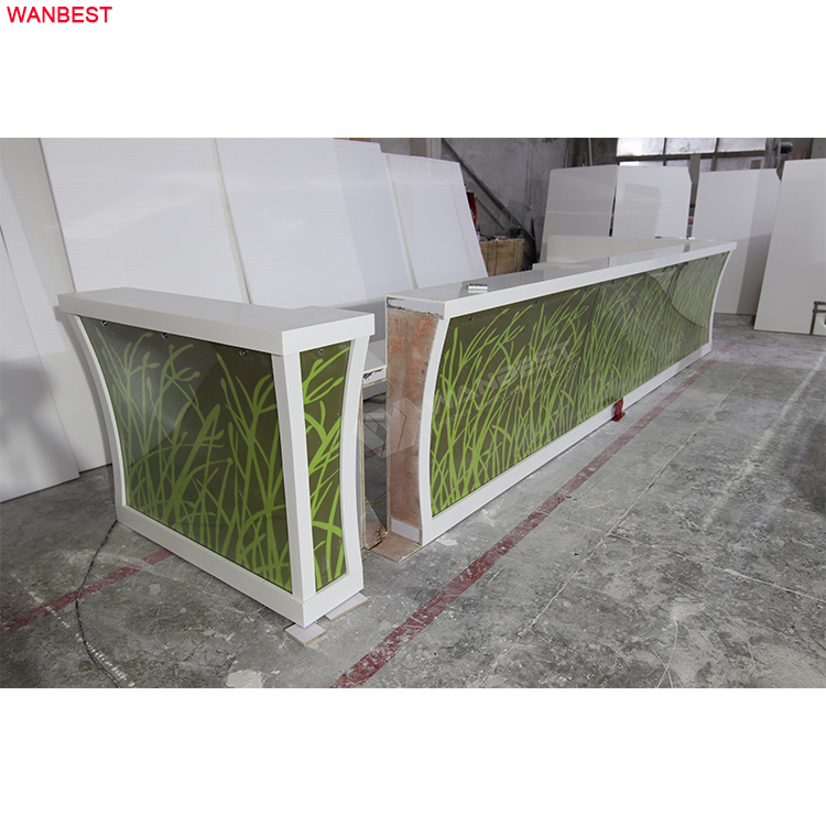 Straw bar counter translucent stone glass artificial stone 7 color changed LED ligh bar counter