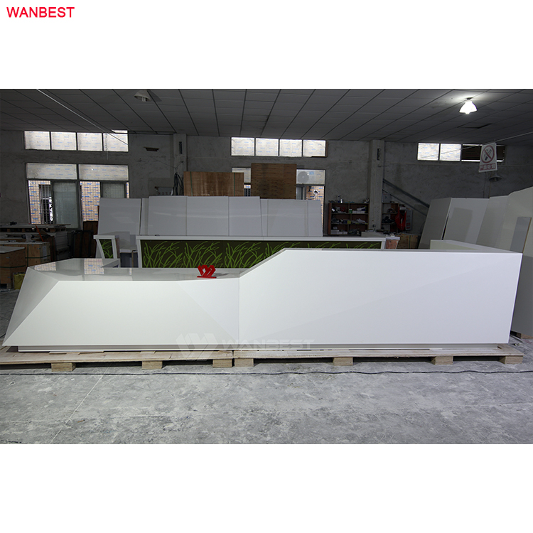 large white high glossy reception desk