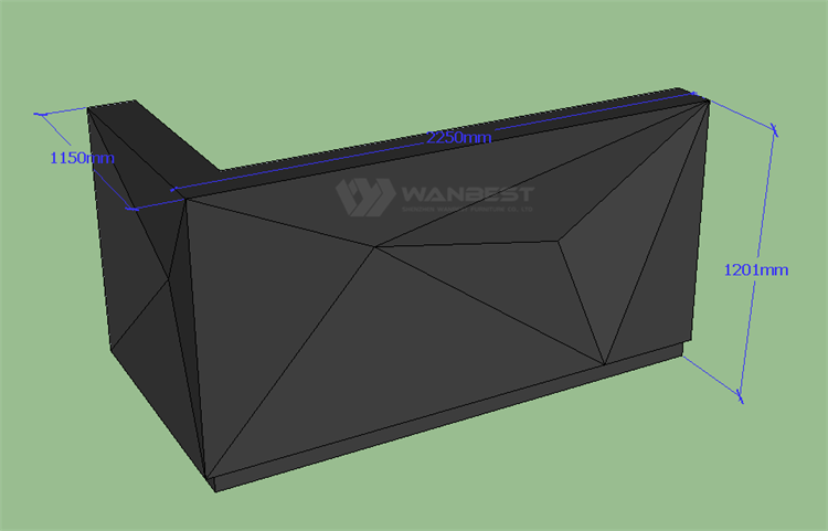 Black 3D drawing front counter
