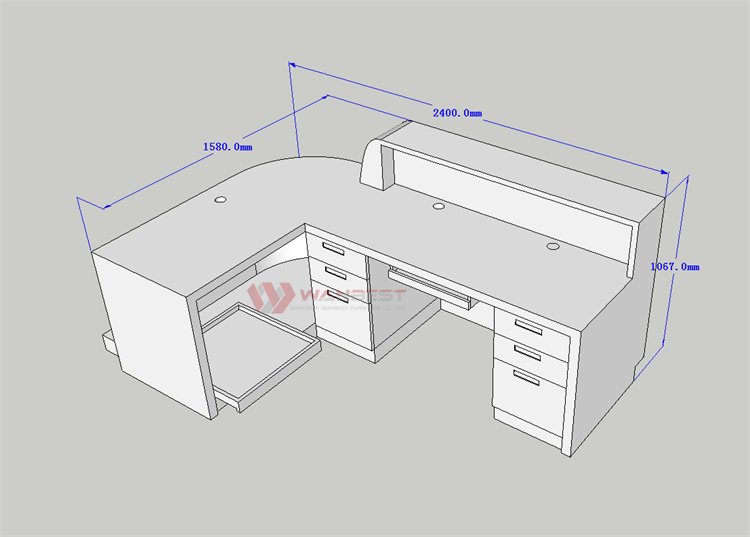 3D drawing reception desk with drawers