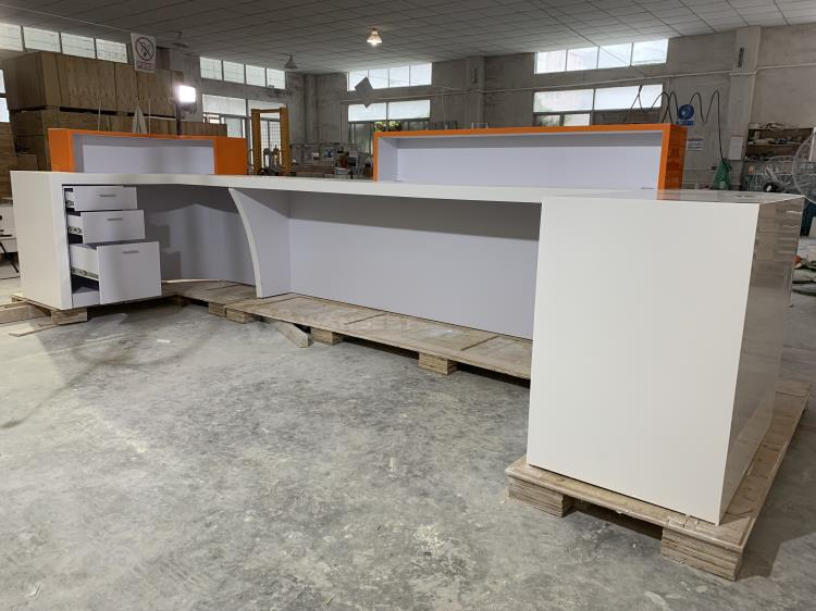 International hotel artificial stone white & orange front counter furniture