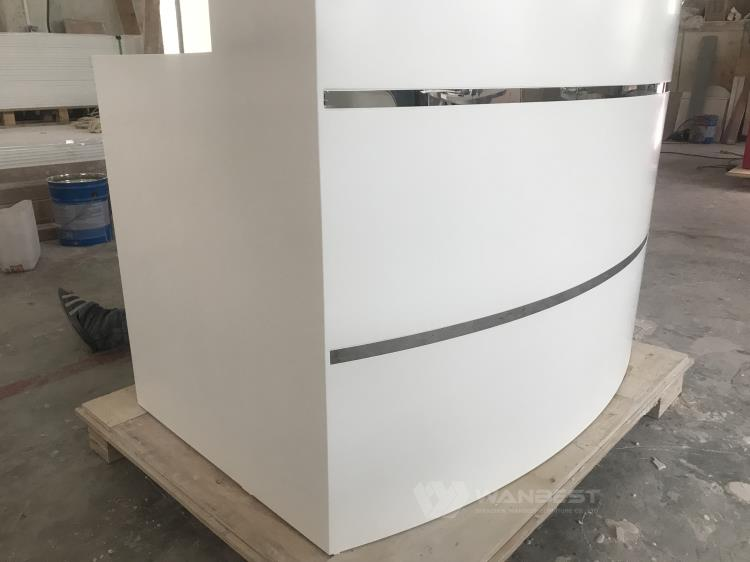 reception desk with stainless steel