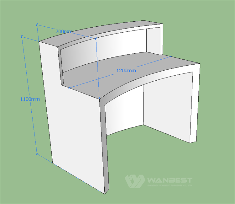 Front counter 3D drawing