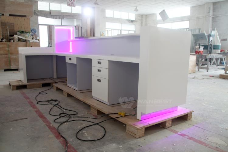 Manufacture supply solid surface best material good price company white front counter