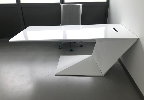 Z shape white corian artificial stone office desk
