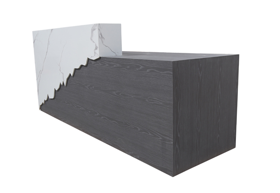 Custom build reception counter desk marble Flowing shape