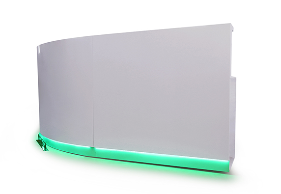 C shape half round reception desk with RGB LED color