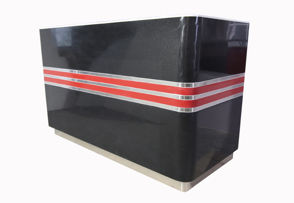 Black marble with red reception front business desk