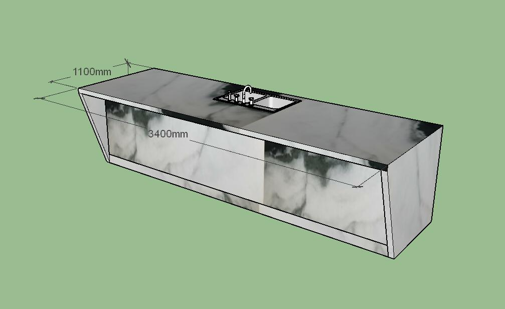 nature marble top kitchen island custom size 3d Drawing 2