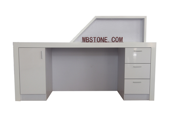 T shape top solid surface straight office reception desk