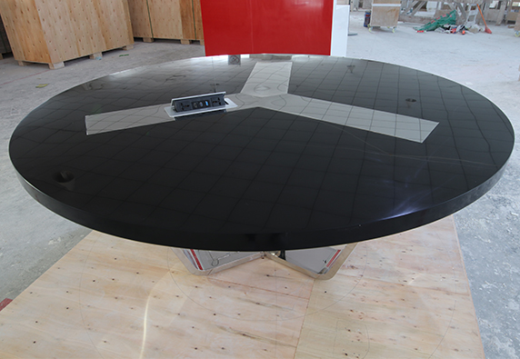 Black Artificial Stone Top Conference Table Modern Design Round Shape