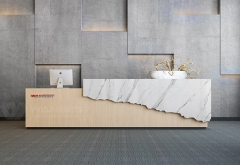 Hotel White Marble Modern Reception Desk Size Straight