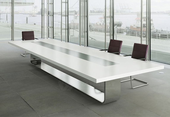 Conference Table Rectangular  Solid Surface Top Stainless Steel Leg