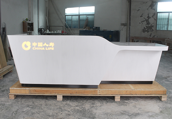 white corian stone company lobby reception desk luxury
