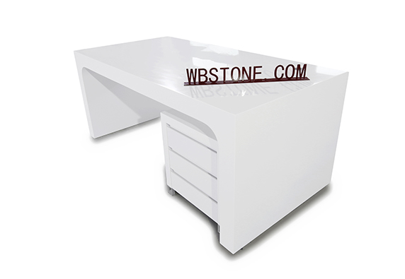 White Stone Modern Design White Office Staff Desk