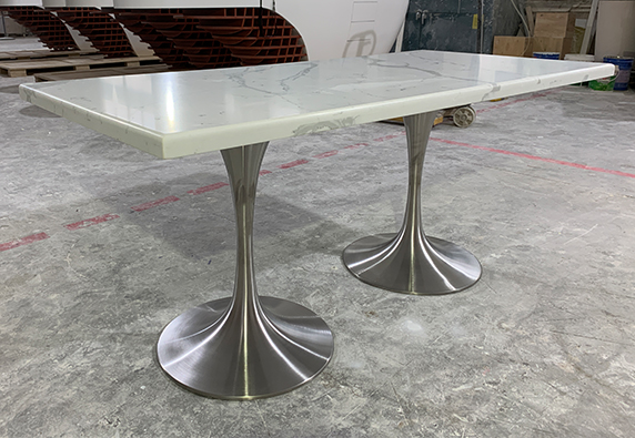 white marble 4 people dining table stainless steel leg