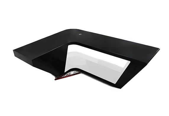 black white corian stone L shape office manager desk