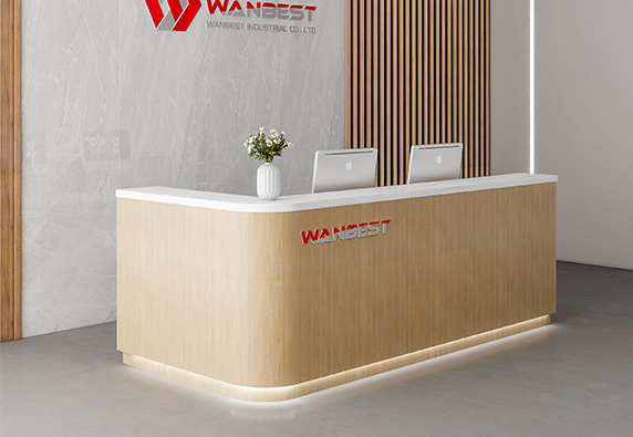 Popular latest design L shape wood marble reception desk