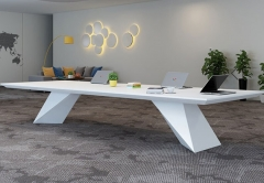 Conference table white artificial stone rectangular shape